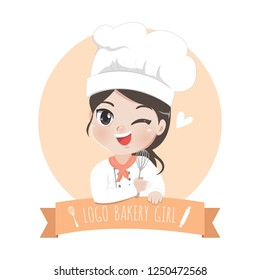 The little bakery girl chef's logo is happy,tasty and sweet smile.