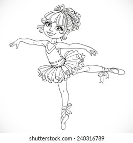 Little ballerina girl dancing in ballet tutu on one leg outlined isolated on a white background