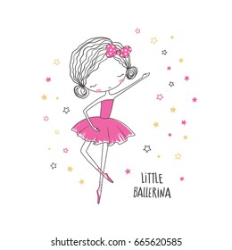 Little ballerina. T-shirt graphic for kid's clothing. Use for print, surface design, fashion wear