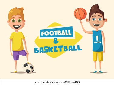 Little basketball and football players in uniform. Children with the ball. Cartoon vector illustration. Kid character