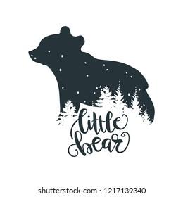 Little Bear, Bear Family, Unique hand lettered Design.