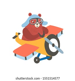 Little bear on airplane flat vector illustration. Happy small grizzly flying on aircraft. Aviating cartoon mammal, smiling beast cub. Cute little bear pilot isolated on white background.