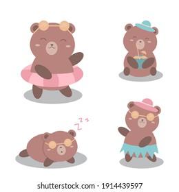 Little Bear Playing Various Poses Cartoon Character Set