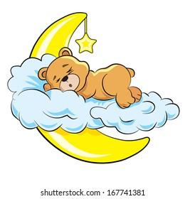 little bear sleeps on a cloud near a moon