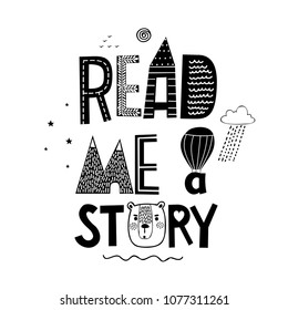 Little bear and slogan - Read me a story. Design for T-shirts.