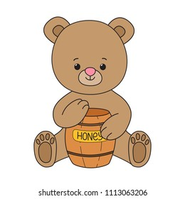 Little bear smile, cute cartoon character, brown animal with honey pot, outline colorful drawing for autumn projects, kids book, children app, game, textile fabric and clothing prints, logo, mascot.