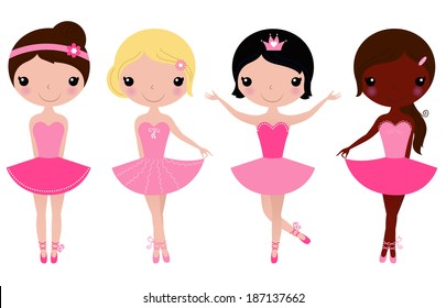 Little beautiful ballerina girls isolated on white ( pink )