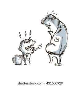 b14a1591fee Little big angry boss and manager cartoon sketch hand drawn vector  illustration