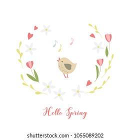 Little bird, flowers and handwritten inscription Hello spring. Vector illustration.