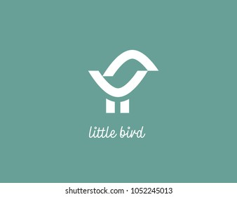 Little bird logo. Cute birdie logo design. For children's educational clubs, toy stores and nurseries.
