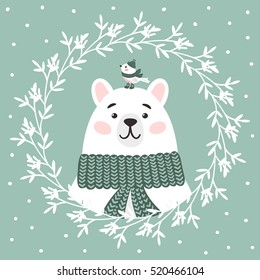 Little bird and a polar bear in the winter accessories. Funny animals celebrate New Year and Christmas. Vector illustration for the holiday season.