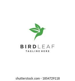 Little bird wing leaf nature logo design vector art icon