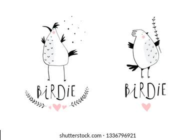 Little Birds Branding Logo Design. Minimal illustration hand drawn birdies symbols for logotype.