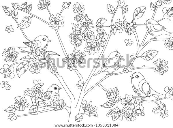 Little Birds On Tree Blossom Cherry Stock Vector (Royalty ...