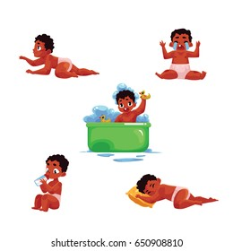 Little black, African American baby kid, infant daily routine - eat, sleep, take bath, cry, crawl, cartoon vector illustration isolated on white background. Black baby, kid, infant daily activities