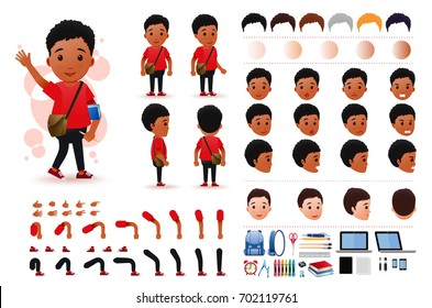 Little Black African Boy Student Character Creation Kit Template with Different Facial Expressions, Hair Colors, Body Parts and Accessories. Vector Illustration.