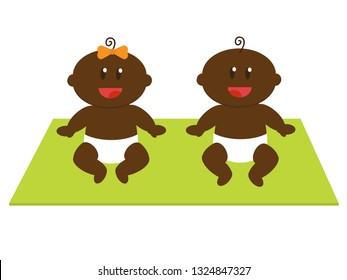 Little black boy and girl. Vector illustration.
