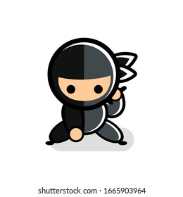 little black cartoon ninja icon ready to use sword for fight number 17