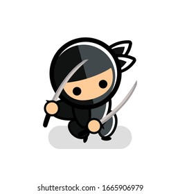 little black cartoon ninja icon squats down with two swords number 23