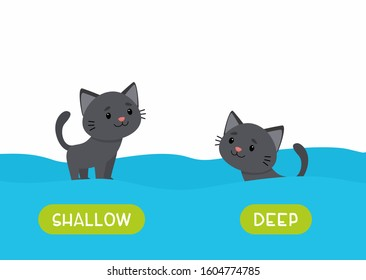 Little black cat swimming cartoon illustration. Educational english flash card with antonyms flat vector template. Childish memo cards for language learning concept. Opposites, deep and shallow