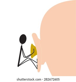 Little black colored cartoon style man trying to remove impacted earwax from the big man`s ear isolated on white background. Concept of qualified medical aid