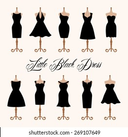 Little black dress fashion boutique. Set of ten different design of elegant and pretty cocktail and evening woman dresses on mannequin. vector art image illustration, isolated on white background