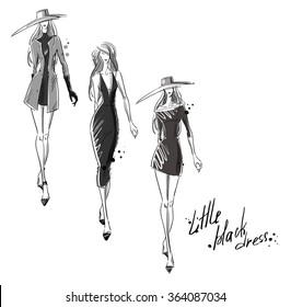 Little black dress. Fashion illustration