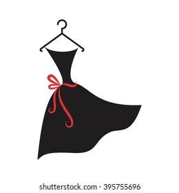 little black dress on a hanger