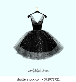Little black dress. Party dress. Vector watercolor illustration