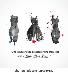 Little black dress. Vector watercolor illustration