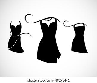 Little Black Dresses on white background