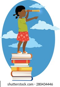Little black girl in a sailor's shirt standing on a pile of books, looking through a telescope, vector illustration, no transparencies, EPS 8