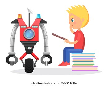 Little blond boy sit on pile of books with direction to robot with satellite, colorful flashers, wheel and round screen isolated vector illustration.