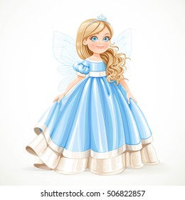 Little blond princess girl in blue ball dress winter wings and snow tiara isolated on a white background