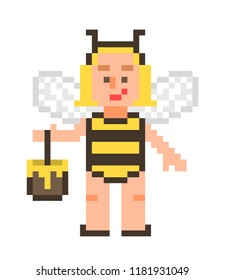 Little blonde girl in a bee costume with a pot of honey, pixel art character isolated on white background. Halloween dress up party personage. Fantastic fairy. 8 bit slot machine/video game graphics.