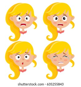 Little blonde girl scared face expression, set of cartoon vector illustrations isolated on white background. Set of kid emotion face icons, facial expressions.