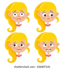 Little blonde girl upset face expression, set of cartoon vector illustrations isolated on white background. Set of kid emotion face icons, facial expressions.
