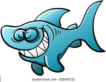 Little blue shark with big fins and tail while swimming, closing its eyes and grinning mischievously