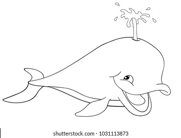 Little blue smiling cartoon whale blowing water out of blowhole black outline drawing