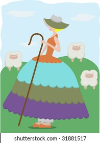 Little Bo Peep with sheep wearing large colorful dress