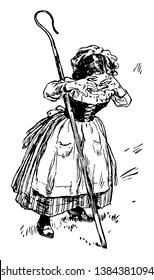 Little Bo Peep, this picture shows a little girl with stick is crying, vintage line drawing or engraving illustration