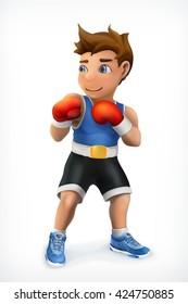 Little boxer, vector icon