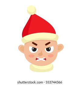 Little boy angry face expression, cartoon vector illustrations isolated on white background. Kid in santa hat emotion face icons, facial expressions.