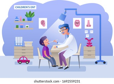 Little boy at an appointment with an otolaryngologist. ENT doctor's office. Child patient and doctor in hospital. Characters patient and doctor.