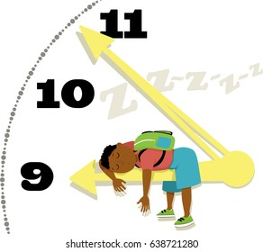 Little boy with a backpack asleep on a chock arm, EPS 8 vector illustration