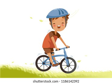 Little Boy a bicycle on green pasture. Child cycling outdoors in helmet. Posture kid riding bikes in nature. cartoon riding bicycle on path. Vector illustrations isolated on white background.