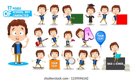 Little boy in blue shirt character. Ready-to-use set. Various poses and emotions: waving, being disabled, presenting, getting education, playing guitar, walking, skating, reading, holding text blank