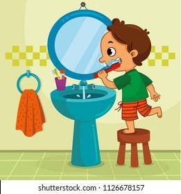 Little boy brushing his teeth in the bathroom. Vector illustration.