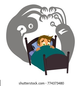 Little boy can not sleep because has fear in the night.Vector illustration in a flat style.