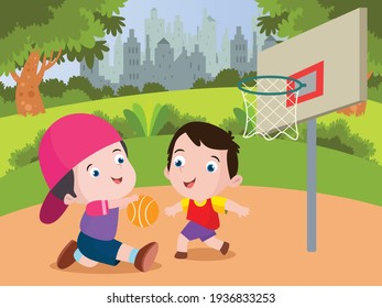 Little boy cartoon playing basketball together at the park